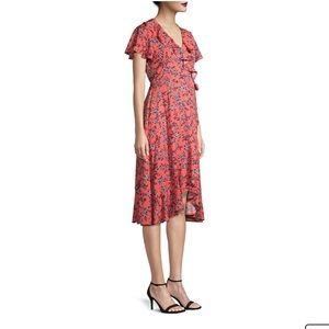 Coral Sunrise Floral Dress Small (4-6)